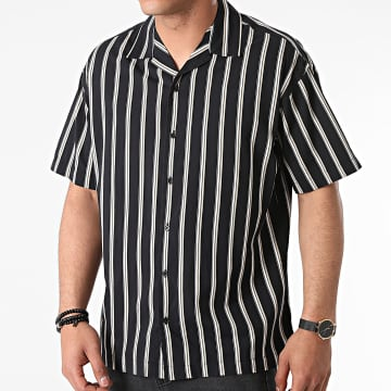 Jack And Jones - Chemise Manches Courtes A Rayures Stripe Resort Noir