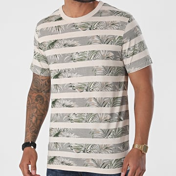 Produkt - Tee Shirt A Rayures GMS Bobby Beige Gris Floral