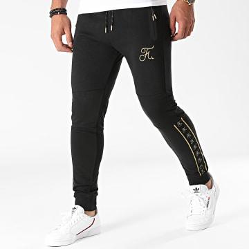 Final Club - Pantalon Jogging A Bandes Gold Label Avec Broderie Or 544 Noir