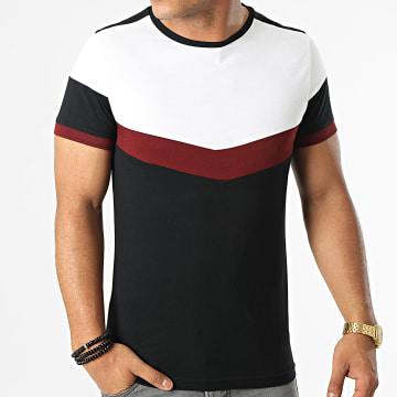 LBO - Tee Shirt Tricolore 1620 Noir Blanc Bordeaux