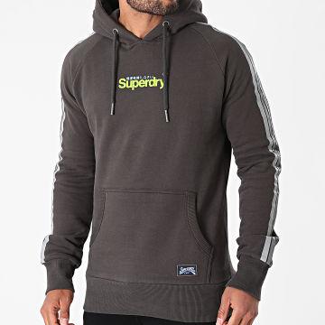 Superdry - Sweat Capuche A Bandes Classic Cali M2011183A Gris Anthracite
