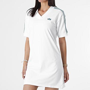Adidas Originals - Robe Tee Shirt Femme A Bandes GN2848 Blanc