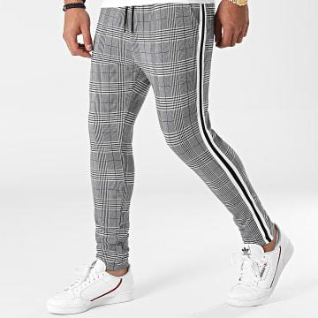 LBO - Pantalon Carreaux Avec Bandes 0026 Gris Noir Blanc