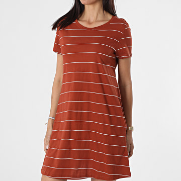 Only - Robe Tee Shirt Femme A Rayures May Life Brique