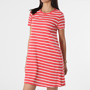 Only - Robe Tee Shirt Femme A Rayures May Life Corail Blanc