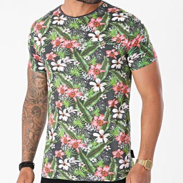 La Maison Blaggio - Tee Shirt Moore Gris Anthracite Vert Floral