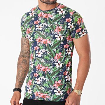 La Maison Blaggio - Tee Shirt Moore Bleu Marine Vert Floral