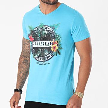 La Maison Blaggio - Tee Shirt Col V Manteca Bleu Clair Floral