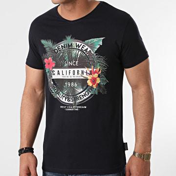 La Maison Blaggio - Tee Shirt Col V Manteca Blanc Marine Floral