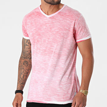 Paname Brothers - Tee Shirt Col V Toto-A Rose Chiné