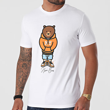 Luxury Lovers - Tee Shirt Hype Bear Orange Hood Blanc