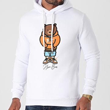 Luxury Lovers - Sweat Capuche Hype Bear Orange Hood Blanc