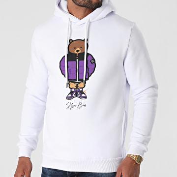 Luxury Lovers - Sweat Capuche Hype Bear Purple Puff Hood Blanc