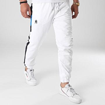 NI by Ninho - Pantalon Jogging A Bandes Uzi Blanc Bleu