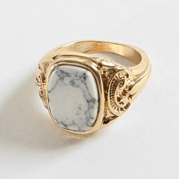 Chained And Able - Bague Square Detail White Stone RC18008 Doré