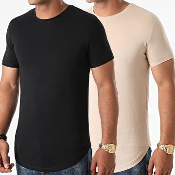 LBO - Lot de 2 Tee Shirts Oversize 1770 Beige Noir