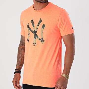 New Era - Tee Shirt MLB Infill Team Logo New York Yankees 12369840 Orange Fluo Chiné