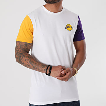New Era - Tee Shirt NBA Color Block Los Angeles Lakers 12553340 Blanc