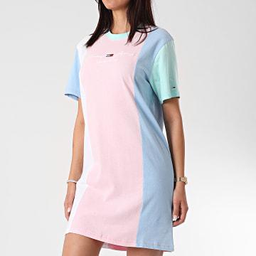 Tommy Jeans - Robe Tee Shirt Femme Color Block 0965 Rose Bleu Vert