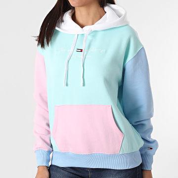 Tommy Jeans - Sweat Capuche Femme Color Block 1297 Mint Rose Bleu Pastel