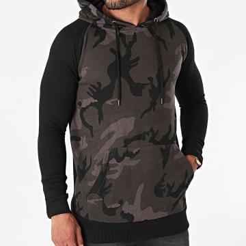 Urban Classics - Sweat Capuche Camouflage TB1647 Gris Anthracite Noir