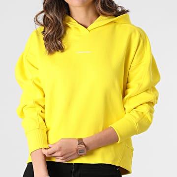 Calvin Klein - Sweat Capuche Femme Micro Branding 5462 Jaune