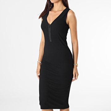 Calvin Klein - Robe Femme Rib Zip 6458 Noir