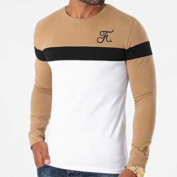 Final Club - Tee Shirt Manches Longues Tricolore Avec Broderie 453 Camel Blanc
