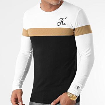 Final Club - Tee Shirt Manches Longues Bicolore Avec Broderie 455 Blanc Camel Noir