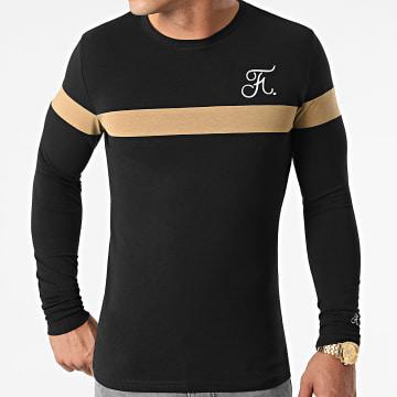 Final Club - Tee Shirt Manches Longues Bicolore Avec Broderie 456 Noir Camel