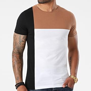 LBO - Tee Shirt Bande Tricolore 1773 Blanc Noir Camel