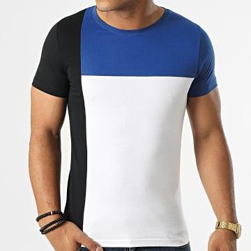 LBO - Tee Shirt Bande Tricolore 1774 Blanc Noir Bleu Roi