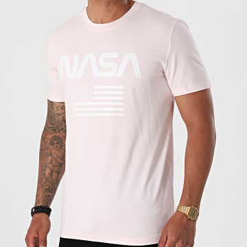 NASA - Tee Shirt Flag Rose Pastel Blanc