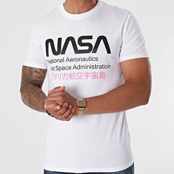 NASA - Tee Shirt Admin 2 Blanc Rose Fluo