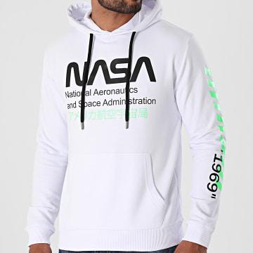 NASA - Sweat Capuche Admin 2 Blanc Vert Fluo