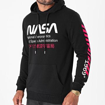 NASA - Sweat Capuche Admin 2 Noir Rose Fluo