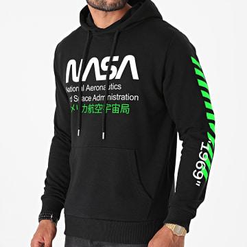 NASA - Sweat Capuche Admin 2 Noir Vert Fluo