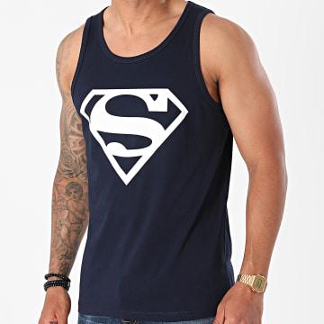 Superman - Débardeur Logo Bleu Marine Blanc