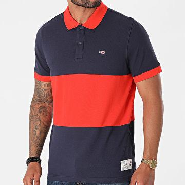 Tommy Jeans - Polo Manches Courtes Colorblock 0883 Bleu Marine Orange