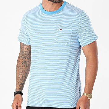 Tommy Jeans - Tee Shirt Poche A Rayures Stripe Pocket 0884 Bleu Clair Blanc