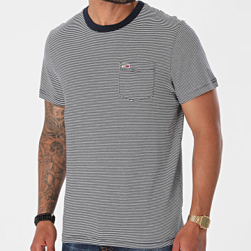 Tommy Jeans - Tee Shirt Poche A Rayures Stripe Pocket 0884 Bleu Marine Blanc