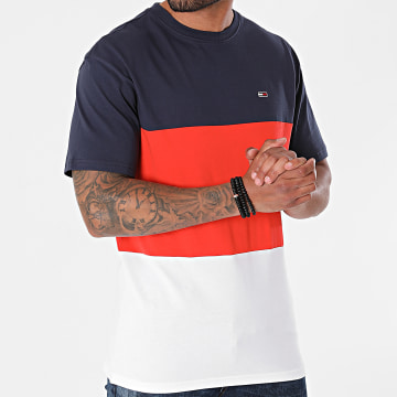 Tommy Jeans - Tee Shirt Classic Color Block 0885 Blanc Orange Bleu Marine