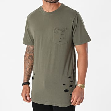 Urban Classics - Tee Shirt Poche Oversize Ripped Pocket TB1570 Vert Kaki