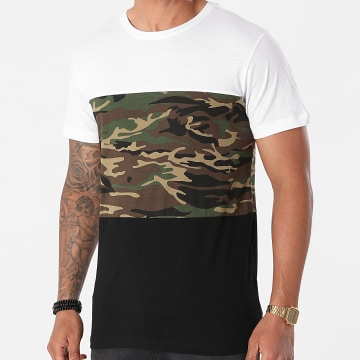 Urban Classics - Tee Shirt Color Block TB2058 Noir Blanc Vert Kaki Camouflage