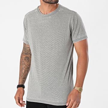 Urban Classics - Tee Shirt A Rayures Stripe Burn Out TB2068 Vert Kaki