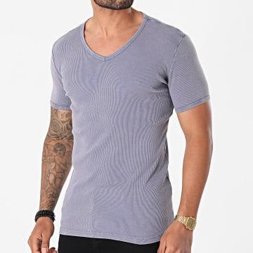 Urban Classics - Tee Shirt Slim Col V Faded TB472 Bleu