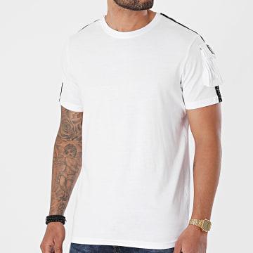Brave Soul - Tee Shirt A Bandes Pogba B Blanc