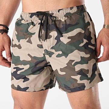 Brave Soul - Short De Bain Camouflage Columbia Beige Vert Kaki