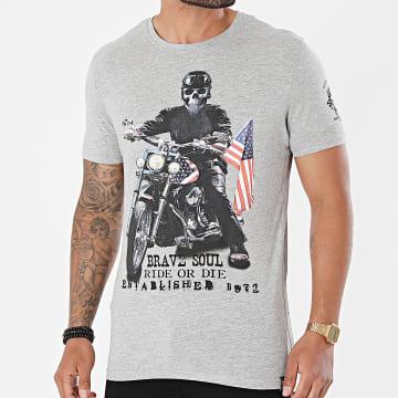 Brave Soul - Tee Shirt Brando Gris Chiné