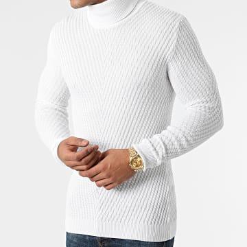 LBO - Pull Col Roulé Texturé 0059 Blanc